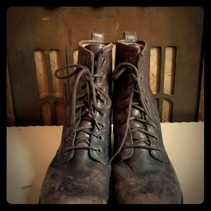 Frye Distressed Combat Boots..